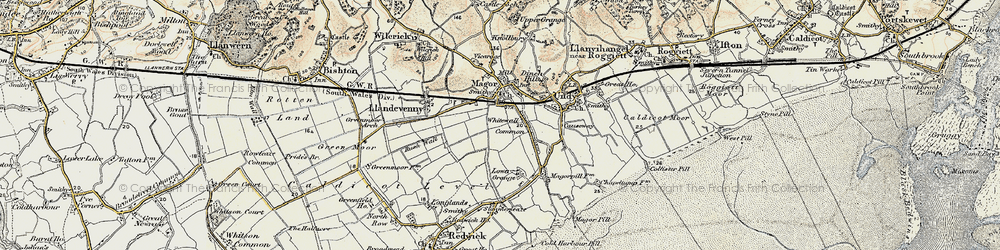 Old map of Whitewall Common in 1899-1900