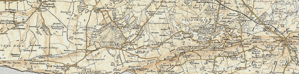Old map of Whiteway Hill in 1899-1909