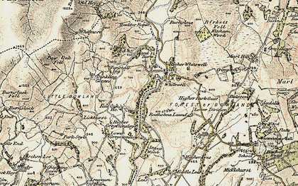 Old map of Whitewell in 1903-1904
