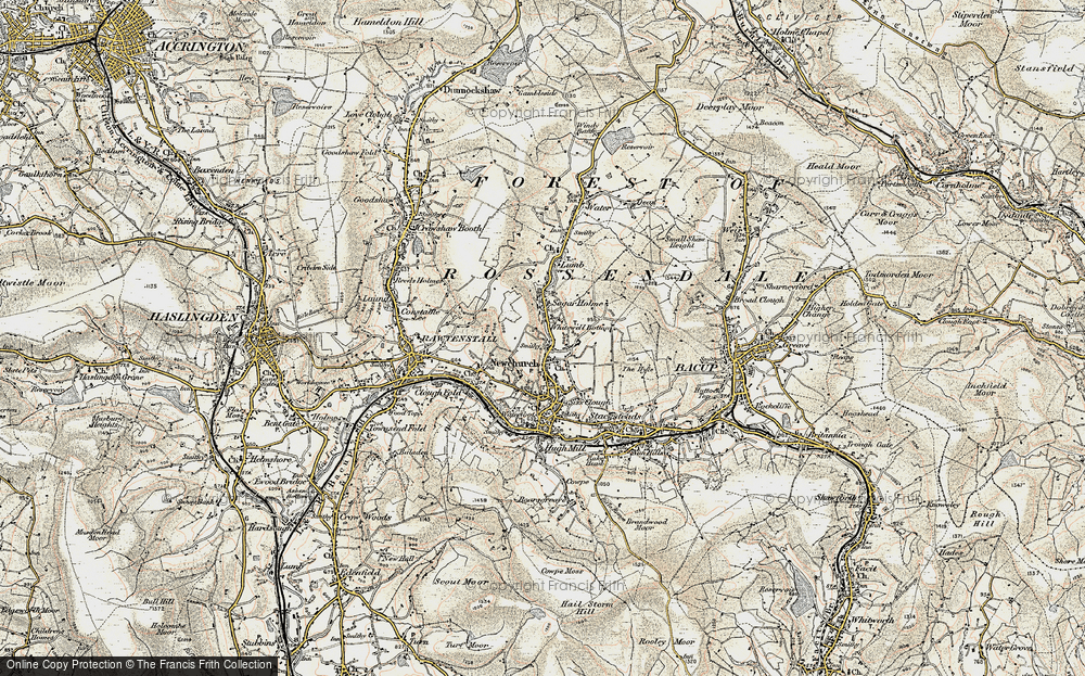 Old Map of Whitewell Bottom, 1903 in 1903