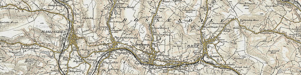 Old map of Whitewell Bottom in 1903