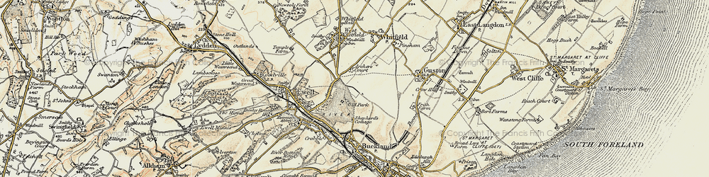 Old map of Whitfield in 1898-1899