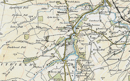 Old map of Whitfield Hall in 1901-1904