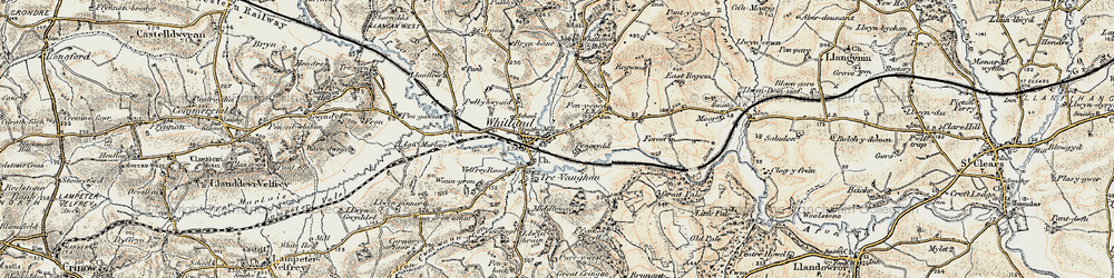 Old map of Whitland in 1901