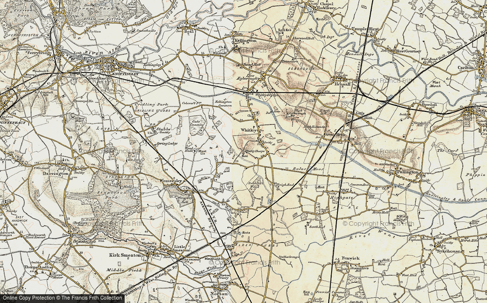 Old Map of Historic Map covering Balne Moor Cross Roads in 1903