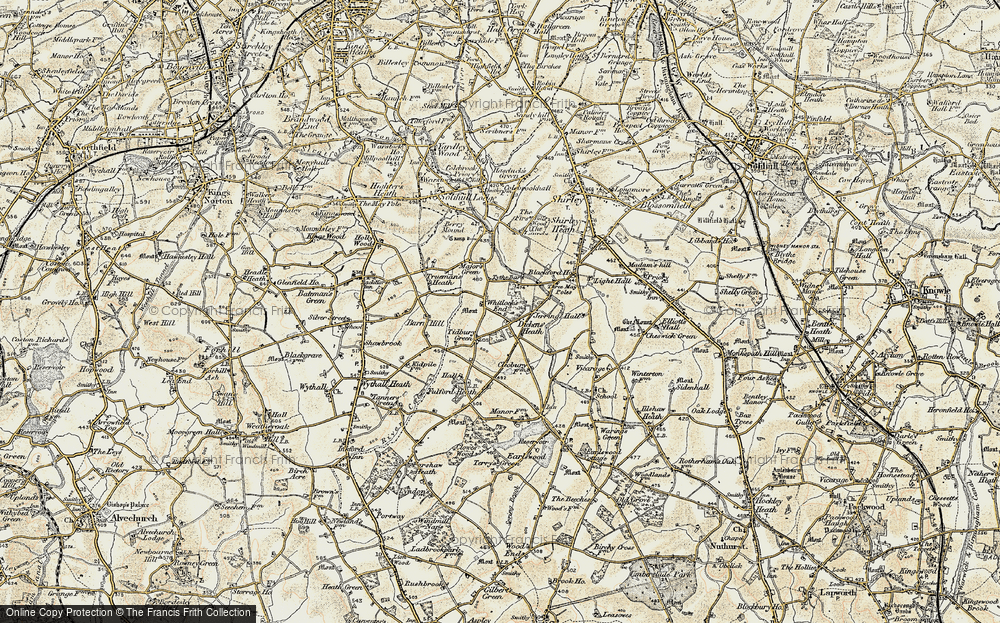 Old Map of Whitlock's End, 1901-1902 in 1901-1902