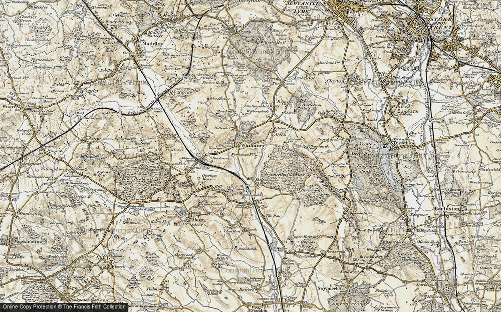 Old Map of Whitmore, 1902 in 1902