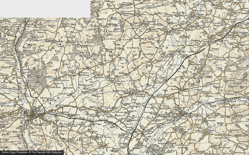 Old Map of Whitnage, 1898-1900 in 1898-1900