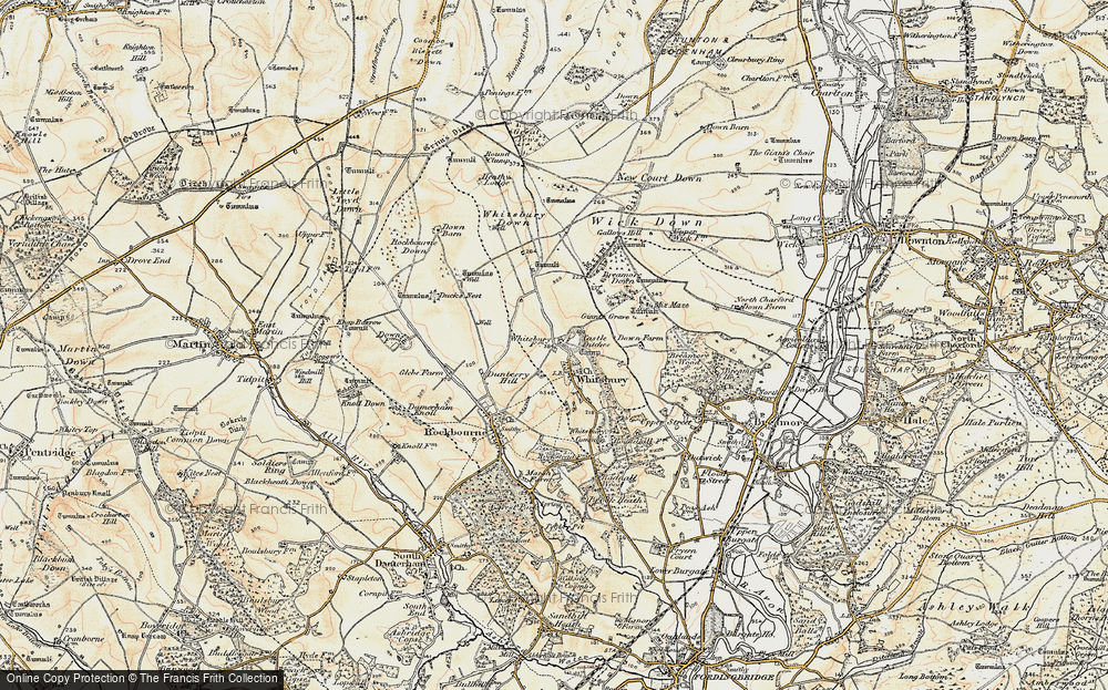 Old Map of Historic Map covering Whitsbury Down in 1897-1909