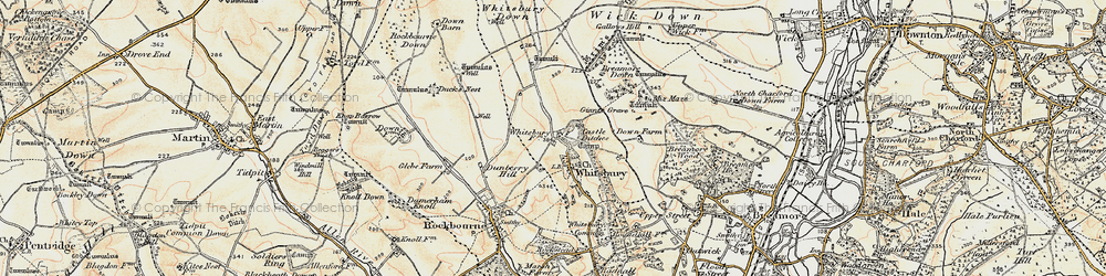 Old map of Whitsbury Down in 1897-1909