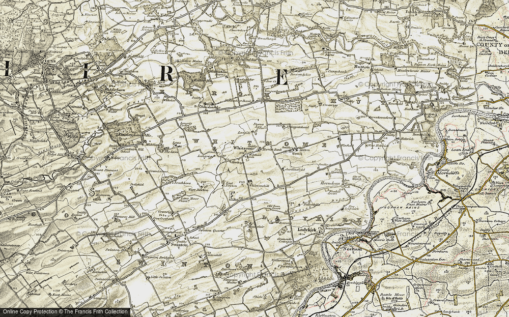 Old Map of Historic Map covering Leetside in 1901-1904