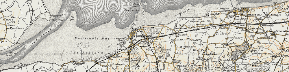 Old map of Whitstable in 1898-1899