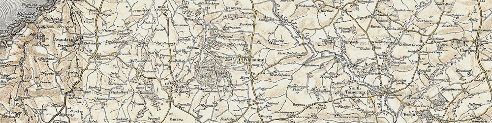 Old map of Willsworthy Cross in 1900