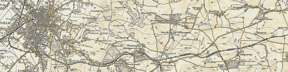 Old map of Whittington Court in 1898-1900