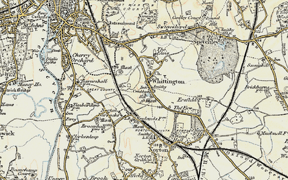 Old map of Whittington in 1899-1901