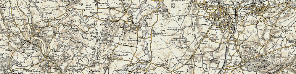 Old map of Whittington Common in 1901-1902