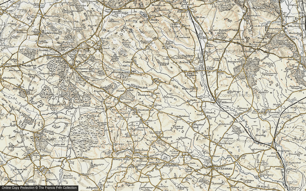 Old Map of Whittington, 1902 in 1902