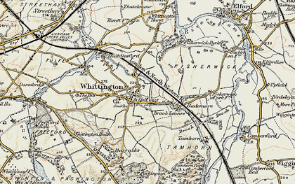 Old map of Whittington in 1902