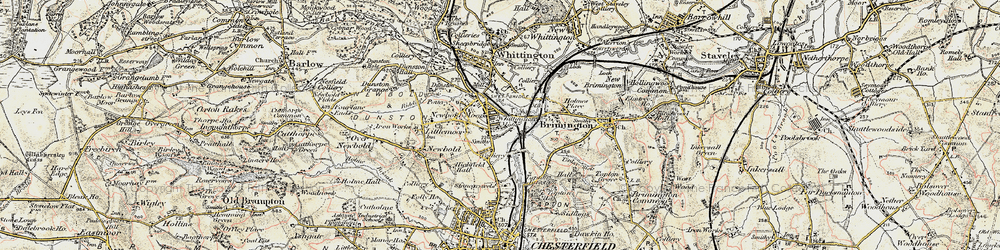 Old map of Whittington Moor in 1902-1903