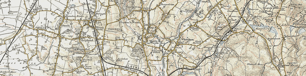 Old map of Whittle-le-Woods in 1903