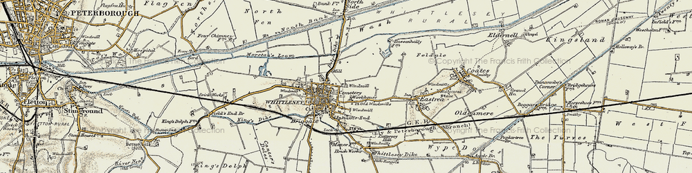 Old map of Whittlesey in 1901-1902