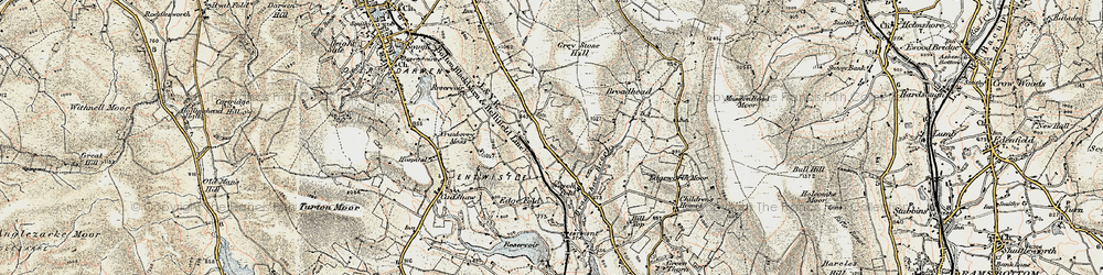 Old map of Whittlestone Head in 1903
