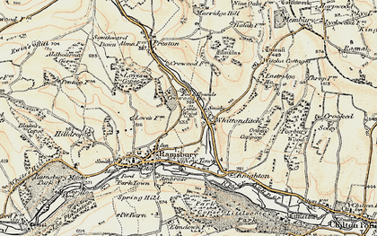 Old map of Whittonditch in 1897-1899