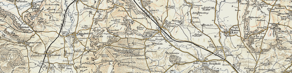 Old map of Whittytree in 1901-1903
