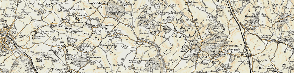 Old map of Whitwell in 1898-1899
