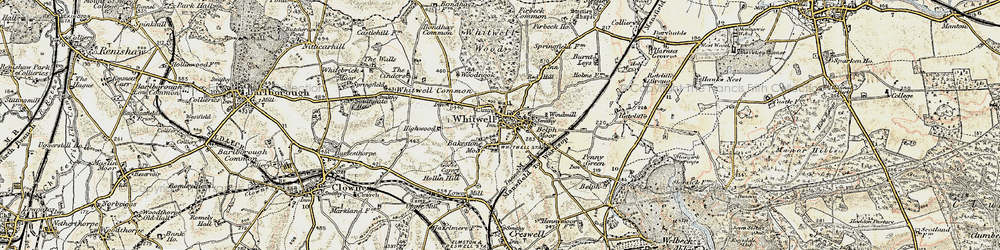 Old map of Whitwell in 1902-1903