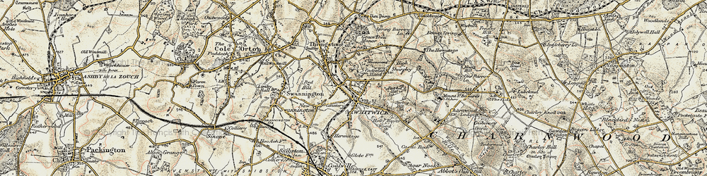 Old map of Whitwick in 1902-1903