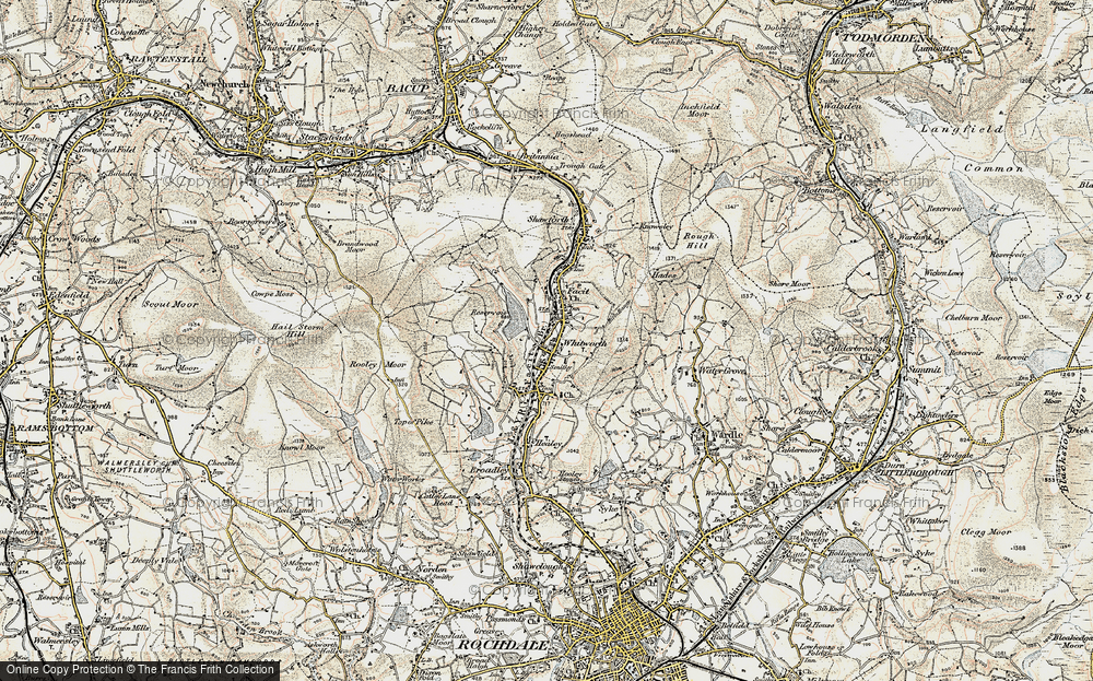 Old Map of Whitworth, 1903 in 1903