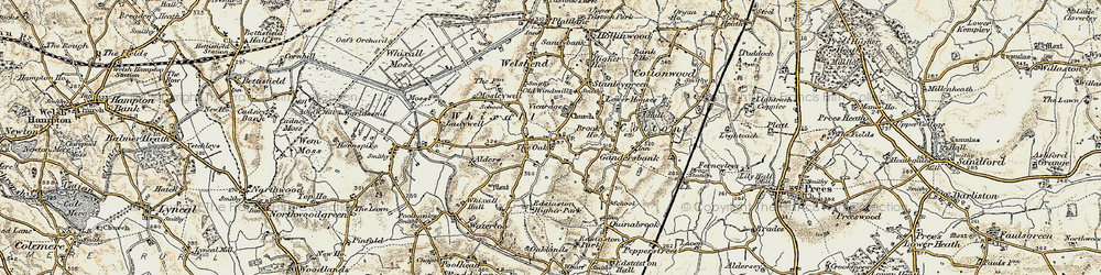 Old map of Whixall in 1902