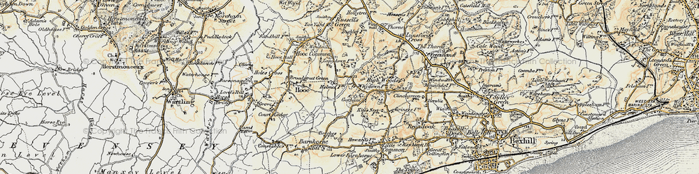 Old map of Whydown in 1898