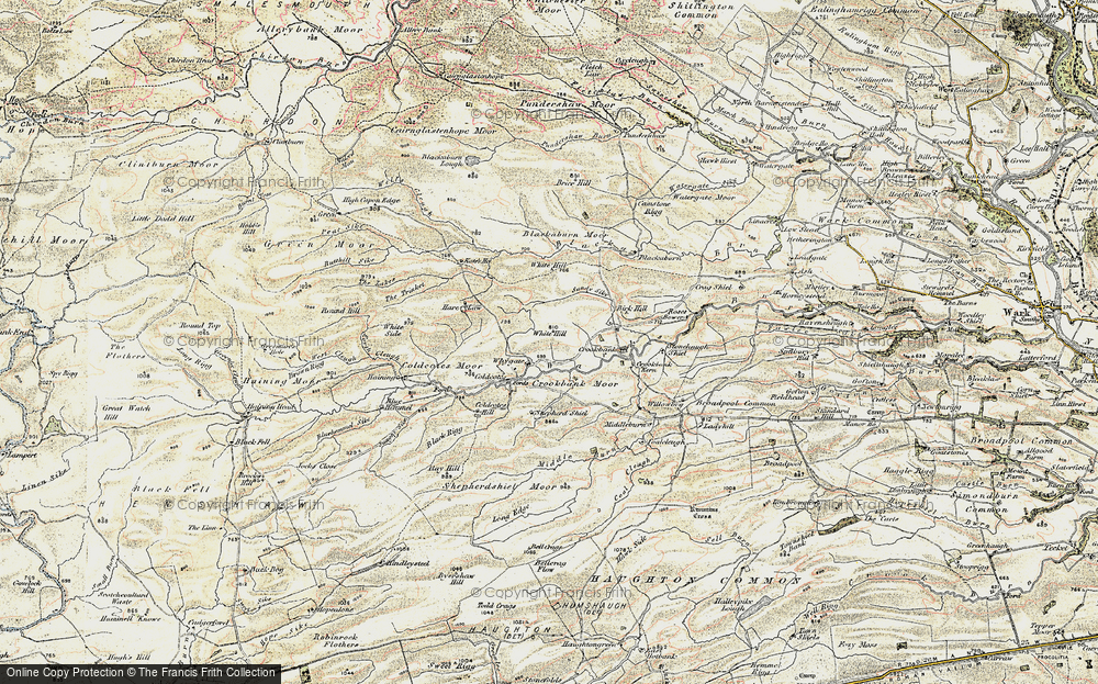 Old Map of Historic Map covering White Hill in 1901-1904