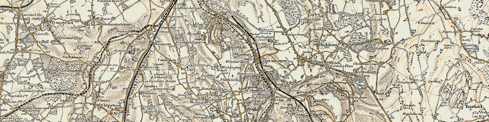 Old map of Whyteleafe South Sta in 1897-1902
