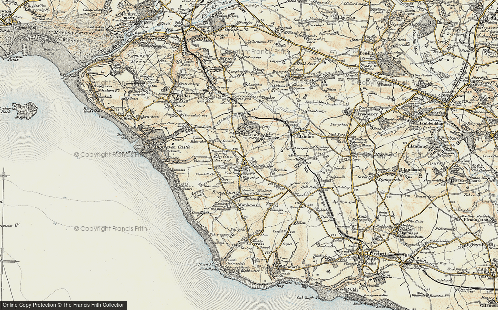 Old Map of Historic Map covering Clemenstone in 1899-1900