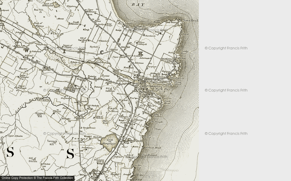 Old Map of Wick, 1912 in 1912
