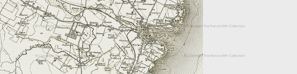 Old map of Wick in 1912
