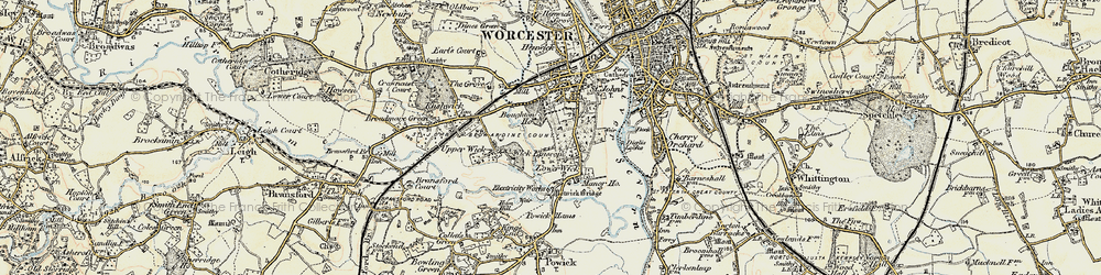 Old map of Wick Episcopi in 1899-1901
