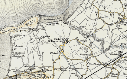 Old map of Wick St Lawrence in 1899-1900