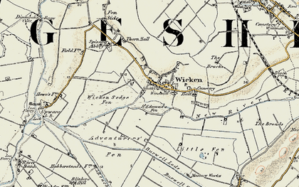 Old map of Wicken Lode in 1901