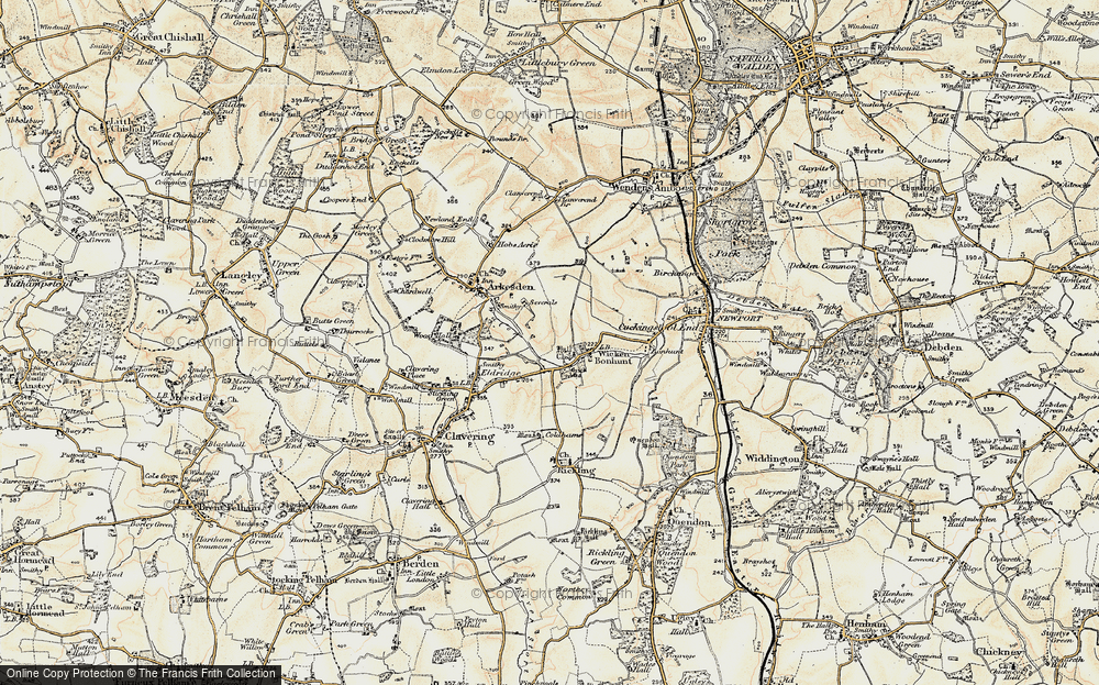 Old Map of Historic Map covering Wicken Water in 1898-1899