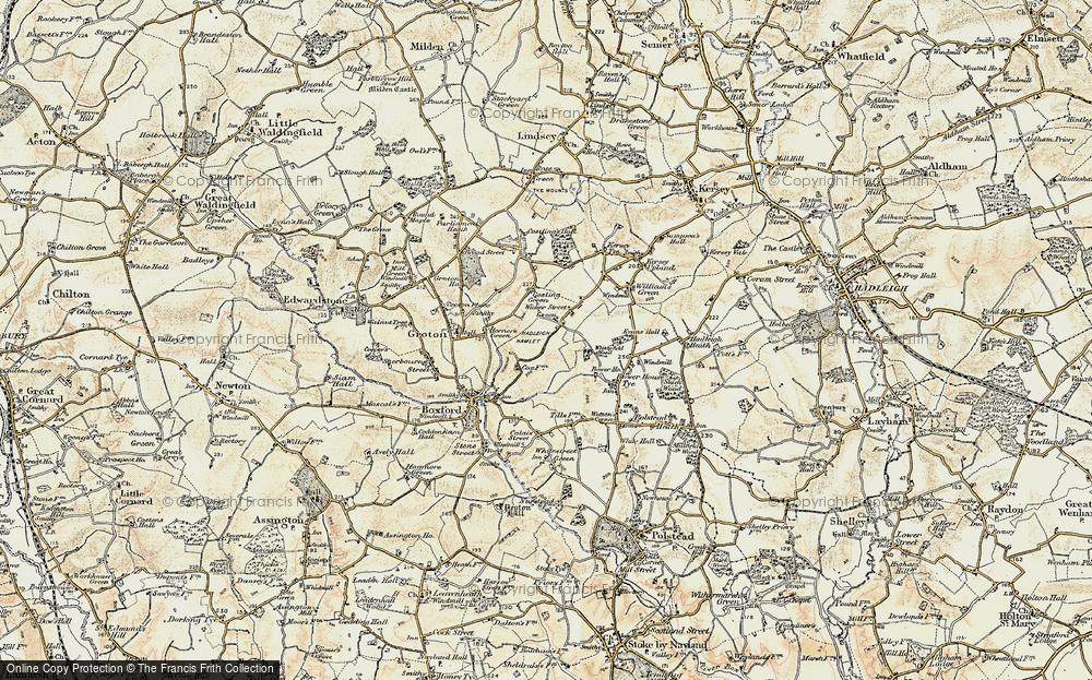 Old Map of Wicker Street Green, 1898-1901 in 1898-1901