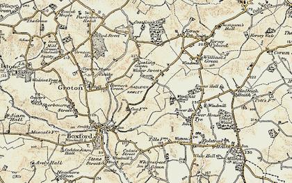 Old map of Wicker Street Green in 1898-1901