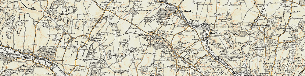 Old map of Wickham Green in 1897-1900