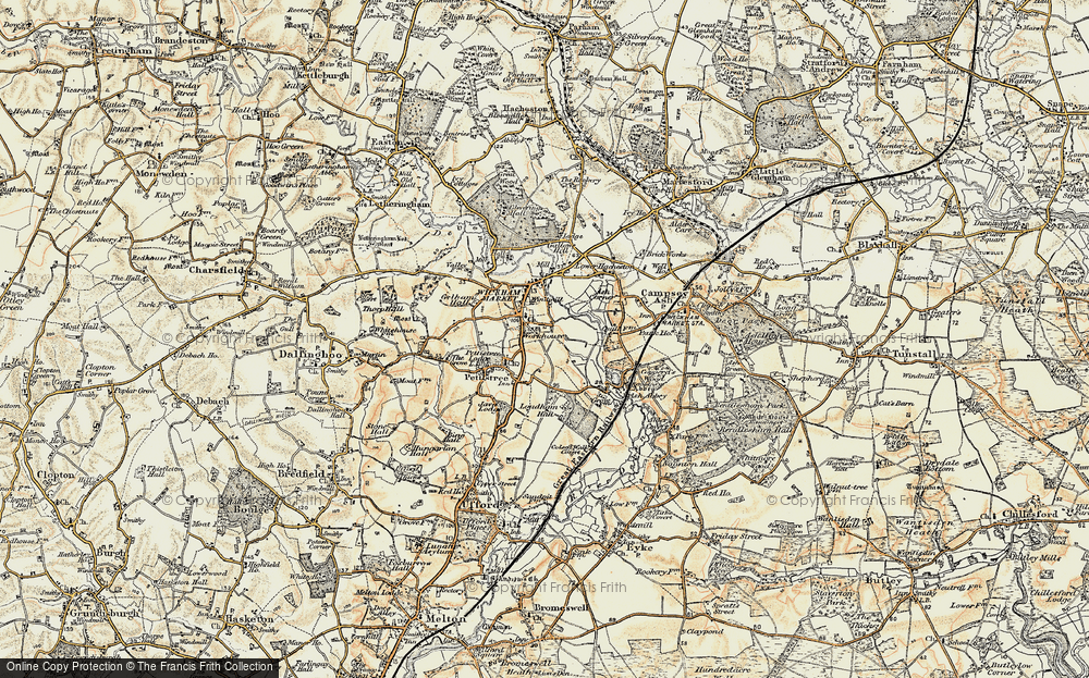 Old Map of Wickham Market, 1898-1901 in 1898-1901