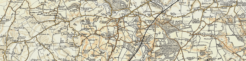 Old map of Wickham Market in 1898-1901