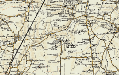 Old map of Wickham Skeith in 1901