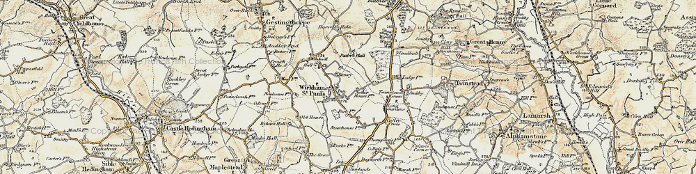 Old map of Wickham St Paul in 1898-1901